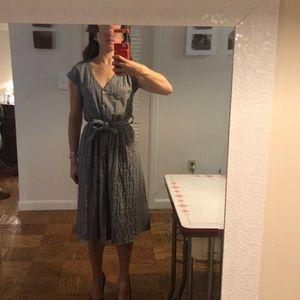 MIDI TIE-WAIST PLAID BUTTON UP DRESS